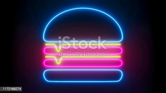 Double cheeseburger in trendy line design, glowing  texture, flat graphic design front view. Neon cheeseburger icon isolated on black background, fast food decoration concept.