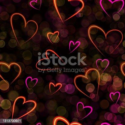 istock Neon colorful line hearts pattern on black background digital illustration 1313700921