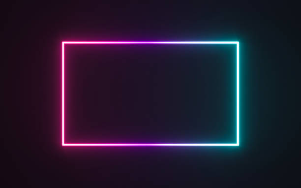neon frame sign - glowing stock illustrations