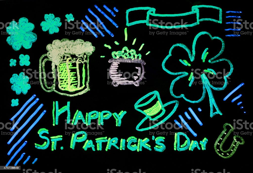 Neon Glow St. Patrick's Day Doodle Design Elements royalty-free stock vector art