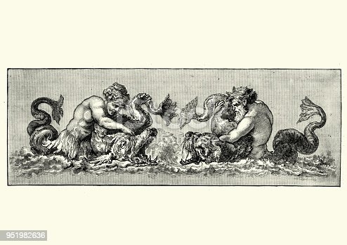 Vintage engraving of Neptune God of the Sea fighting a sea monster