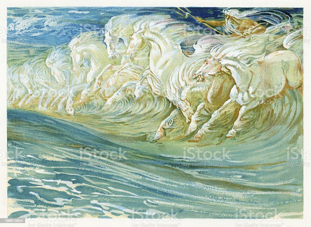Neptune's Horses vector art illustration