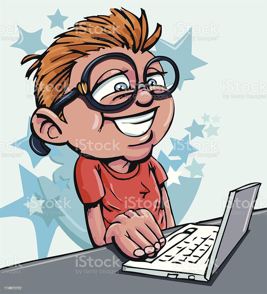 Nerdy cartoon boy using a laptop royalty-free stock vector art