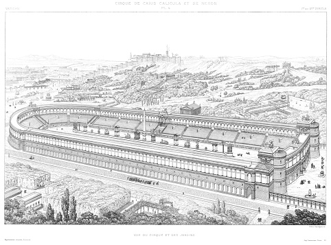 Nero Circus, aerial view and gardens 1st.to 4th. century, by The Vatican 1882