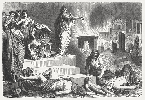 Nero looks at the burning Rome, 64 AD, published 1864
