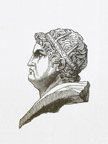 Nero (37-68), Roman emperor, wood engraving, published in 1877