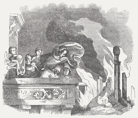 Nero's Great Fire of Rome in 64 AD, published 1864