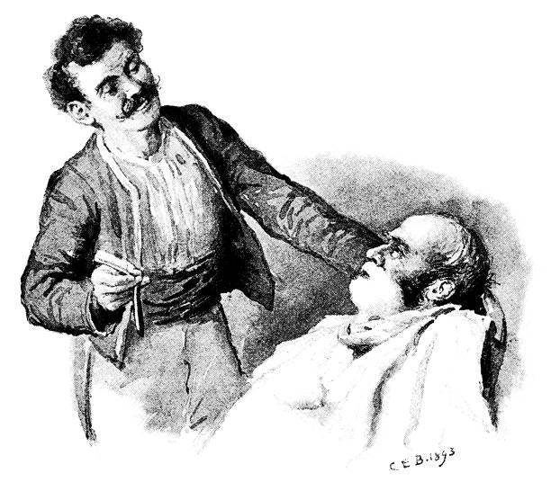 """Nervous man about to be shaved by a barber with a cut-throat razor A nervous-looking man about to be shaved by a smiling barber holding a cut-throat razor. From """"The Humour of America - Selected, with an Introduction and index of American Humorists, by James Barr. Illustrations by C.E. Brock"""". Published in 1893 by Walter Scott Ltd, London. cutthroat stock illustrations"""