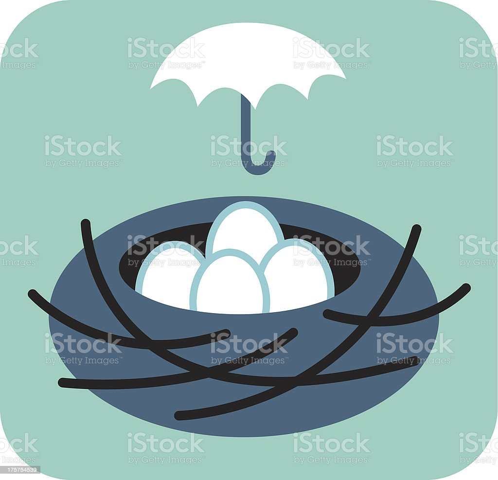 Nest of eggs with umbrella over it vector art illustration
