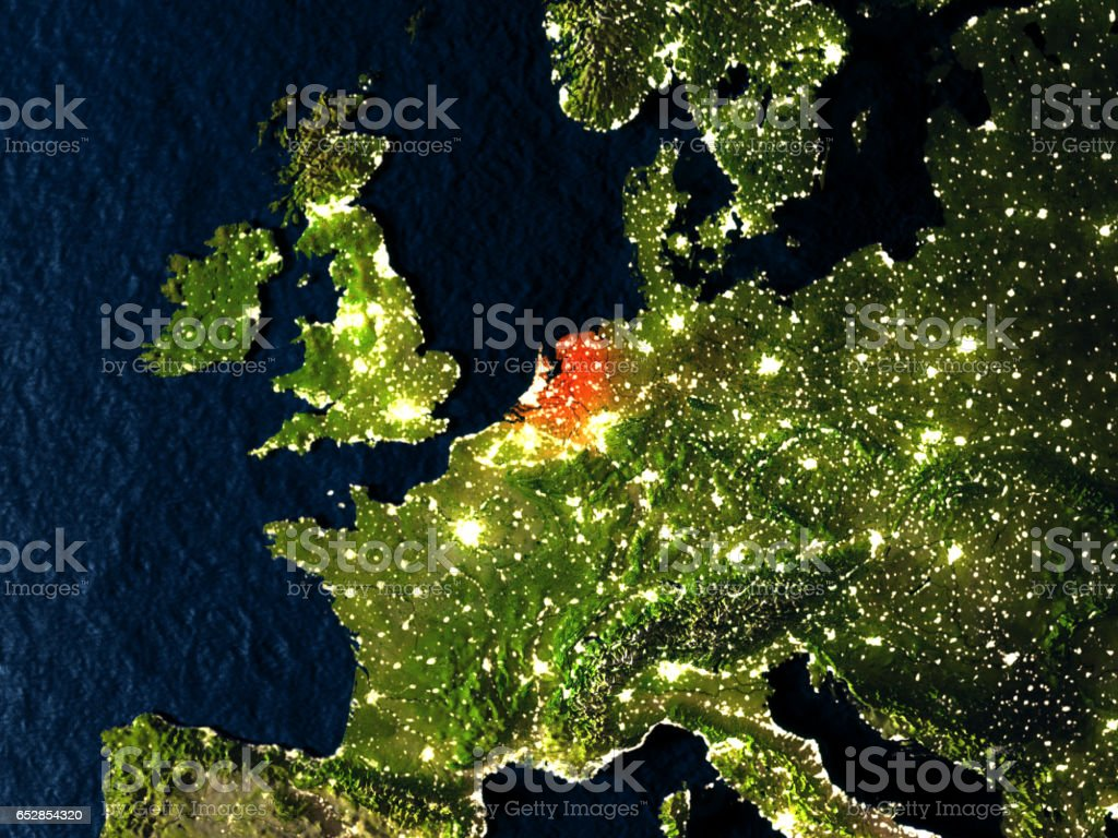 Netherlands in red from space at night vector art illustration