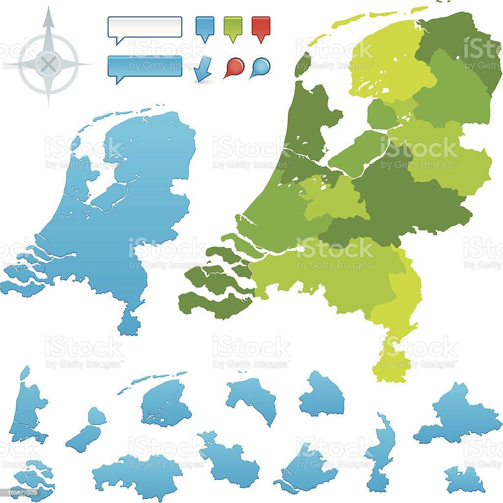 Netherlands Provincial map vector art illustration