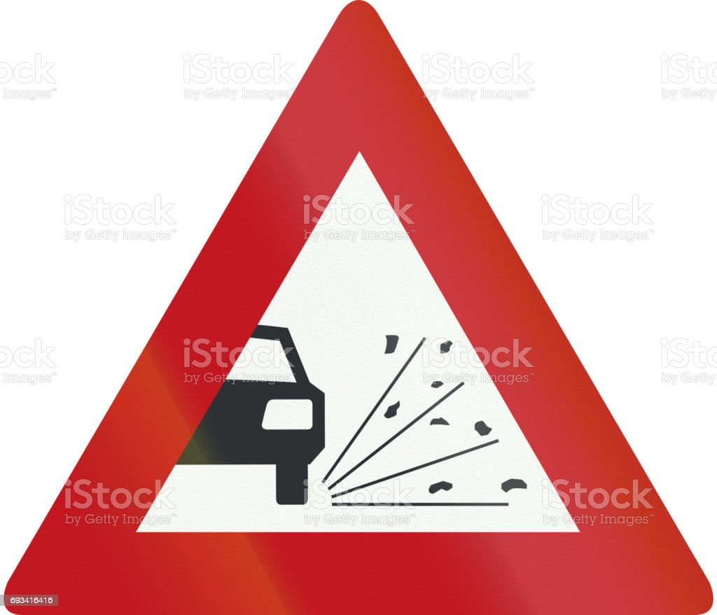 Netherlands road sign J25 - Loose chippings vector art illustration