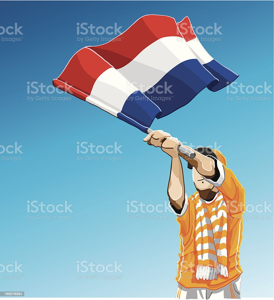 Netherlands Waving Flag Soccer Fan royalty-free stock vector art