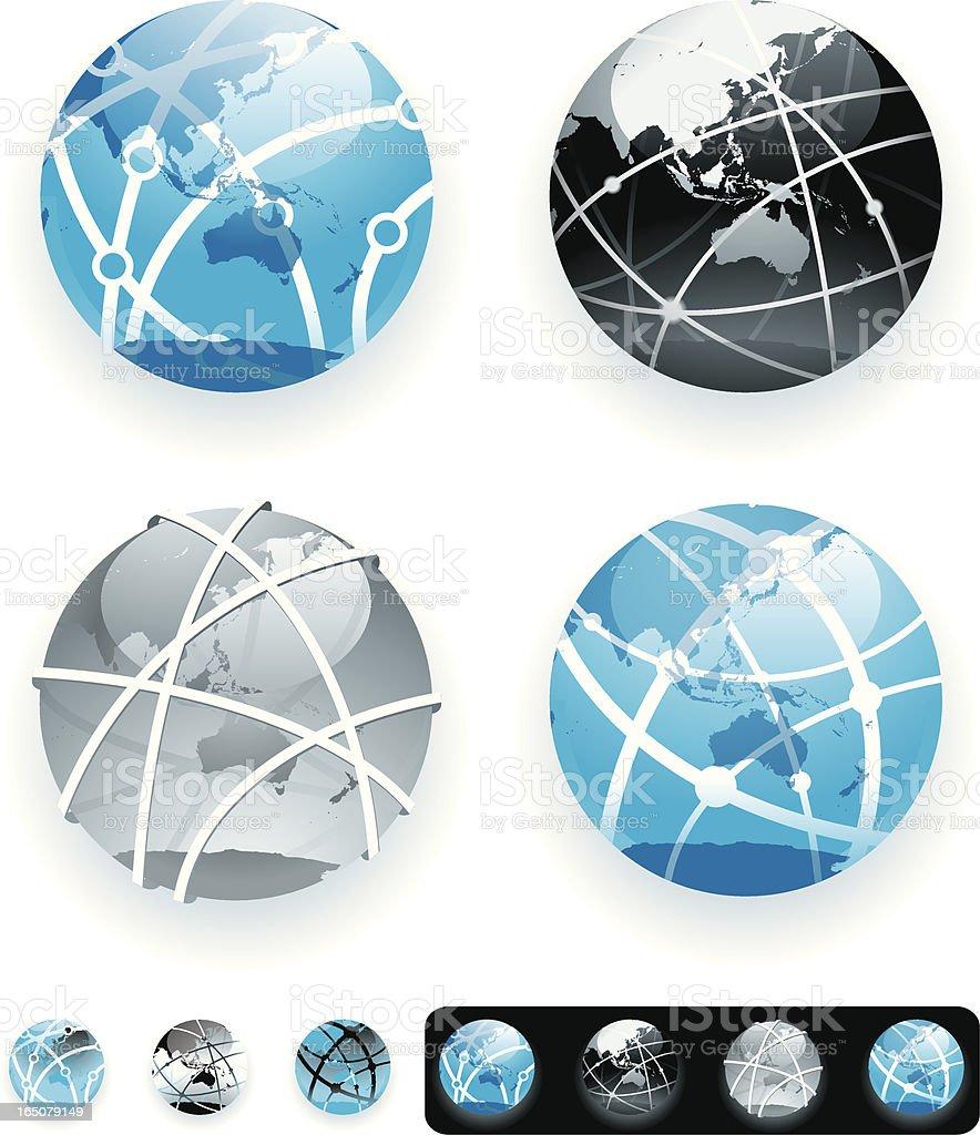 Network globes - Asia and Australasia vector art illustration
