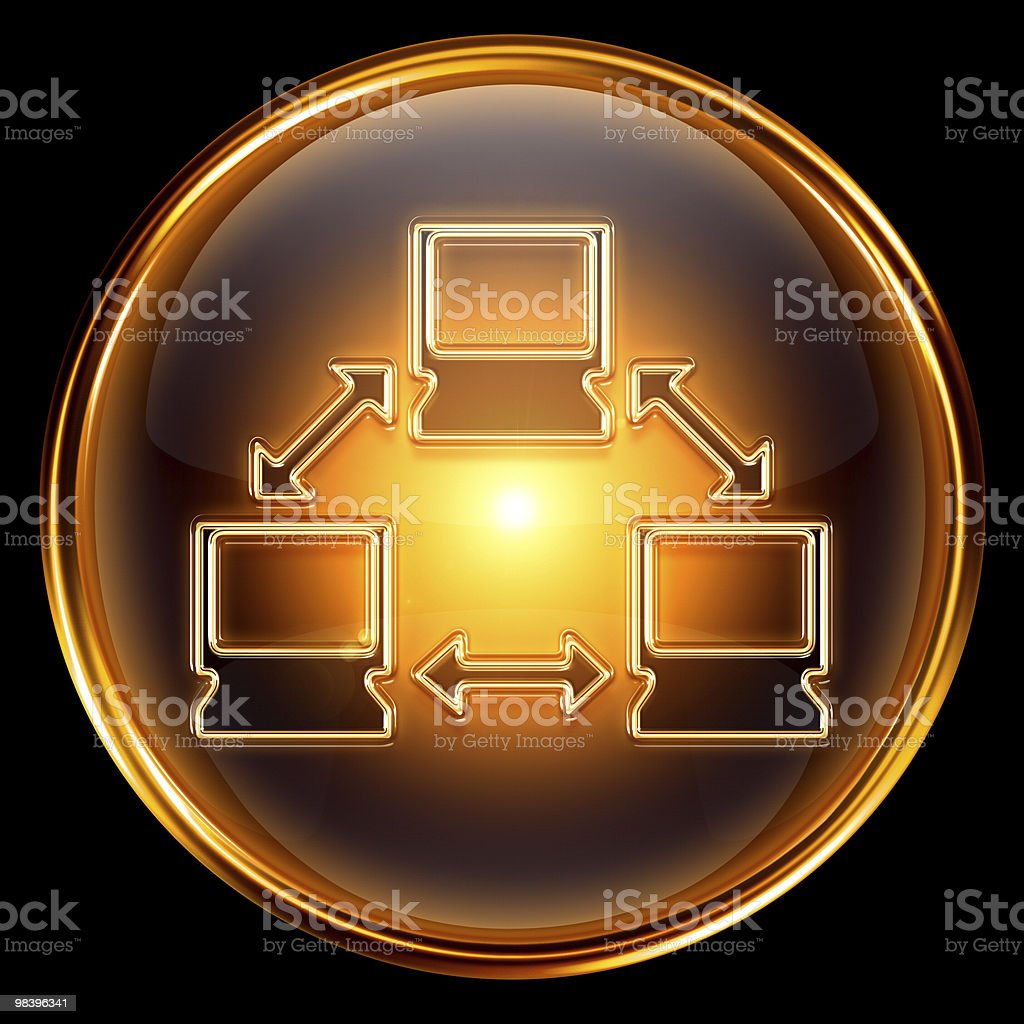 Network icon golden, isolated on black background. royalty-free network icon golden isolated on black background stock vector art & more images of black color