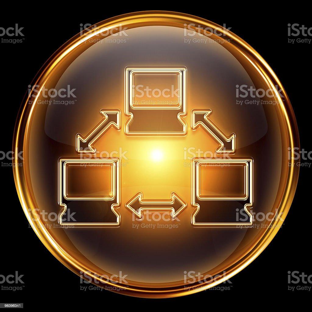 Icona rete oro, isolato su sfondo nero. icona rete oro isolato su sfondo nero - immagini vettoriali stock e altre immagini di affari royalty-free