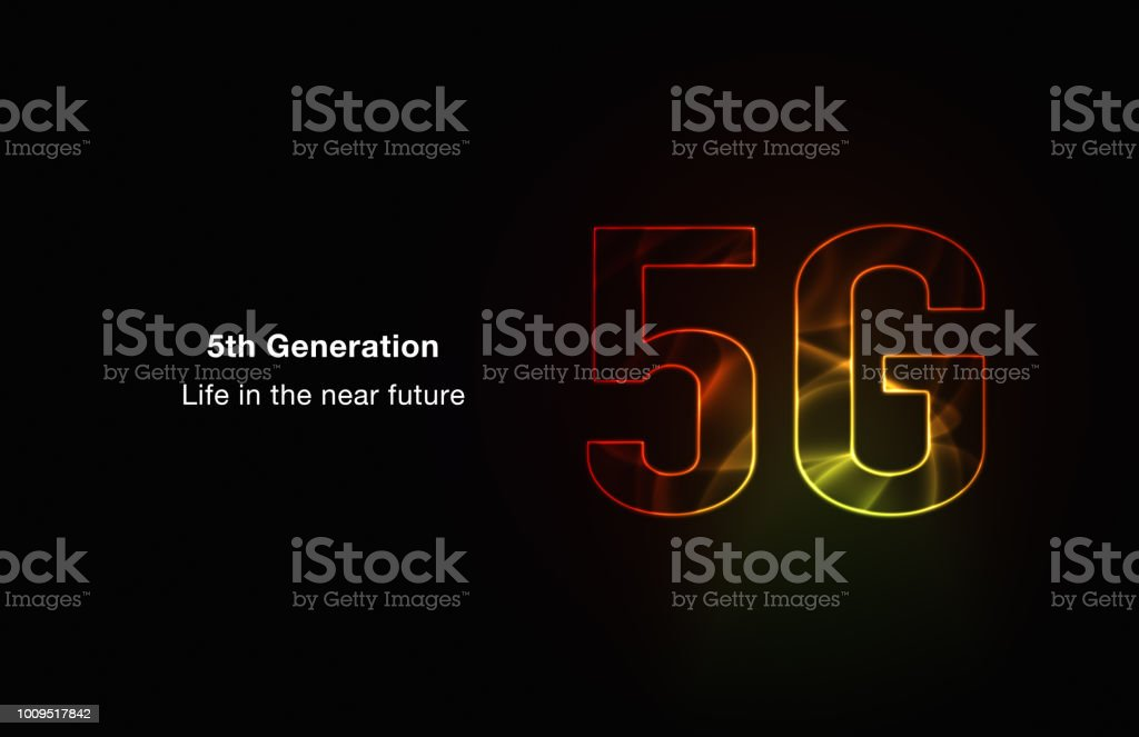 5G network of future technology image. red background illustration. vector art illustration