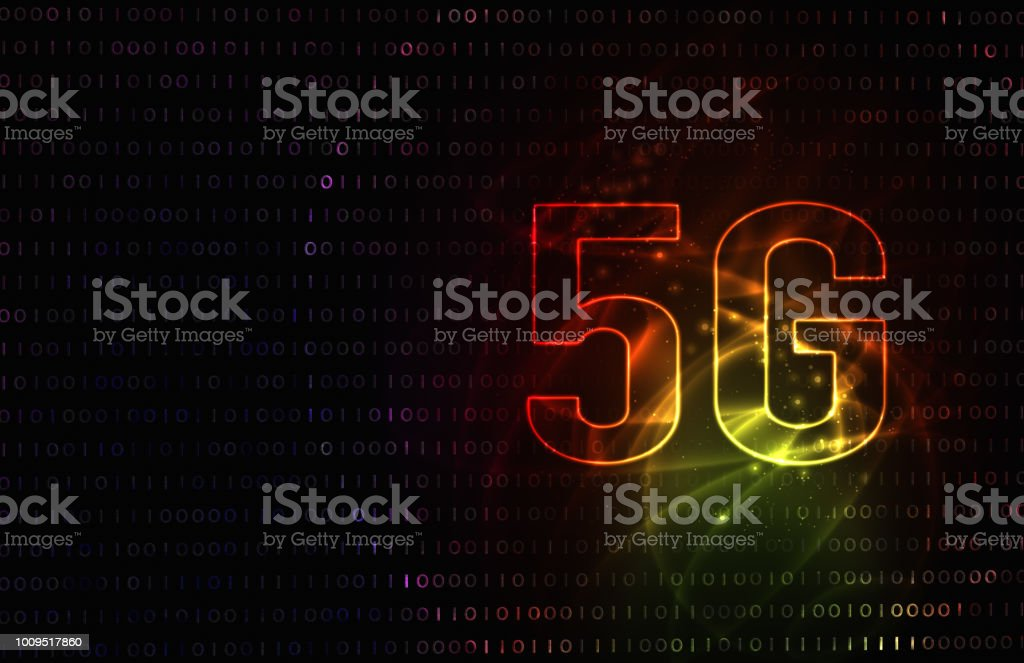 5G network of future technology image. red background illustration. vector art illustration