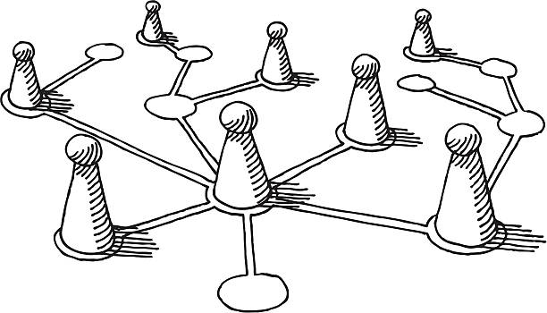 Network Pawns Drawing Hand-drawn vector drawing of some Pawns on a network grid. Concept image for Teamwork or Social Networking. Black-and-White sketch on a transparent background (.eps-file). Included files: EPS (v8) and Hi-Res JPG. game stock illustrations