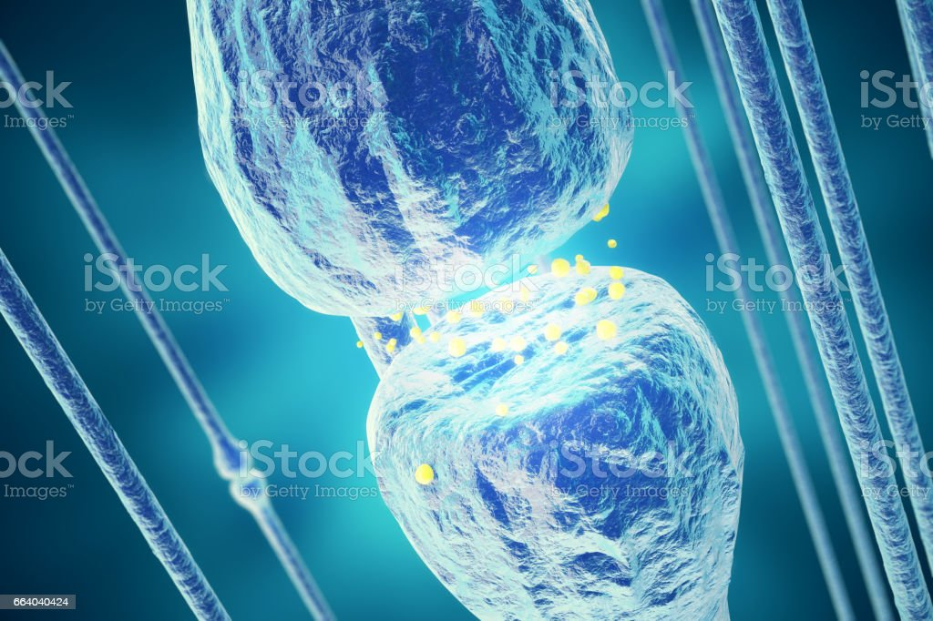 Neurons transmission signals in the head on blue background. Synapse, 3d rendering vector art illustration