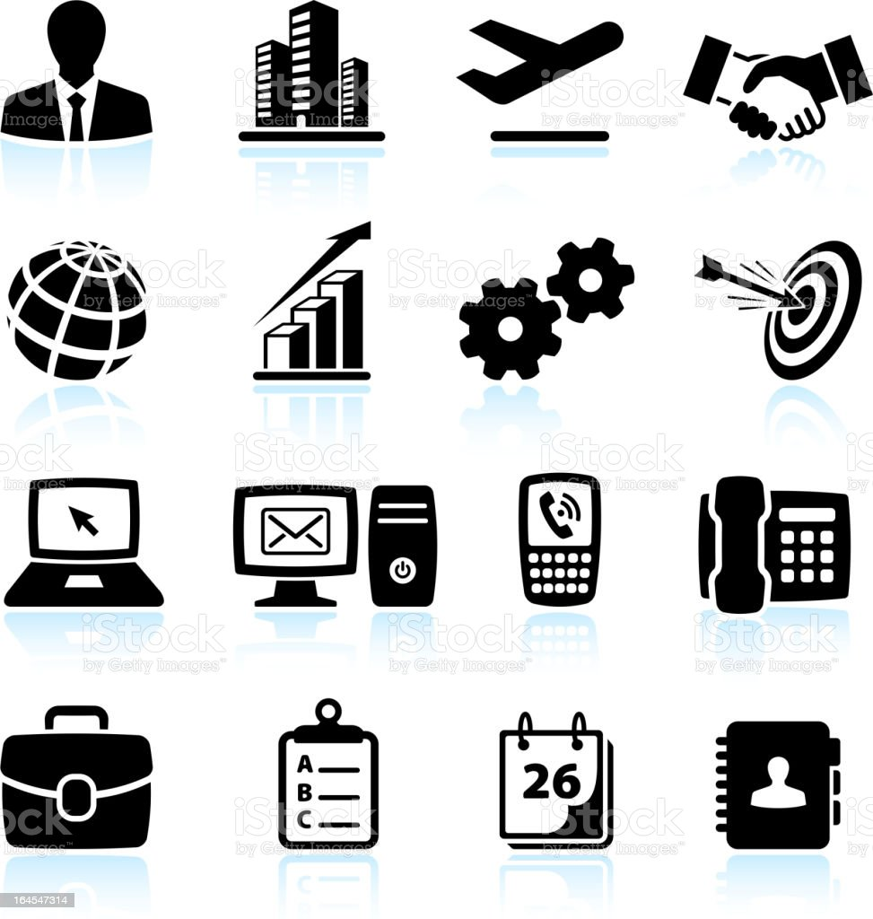 New business black & white royalty free vector icon set royalty-free stock vector art