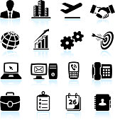 New business black & white royalty free vector icon set