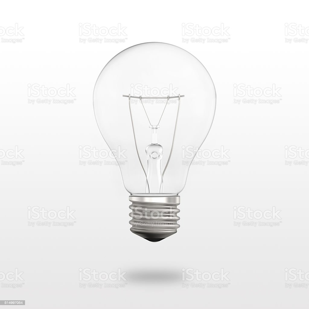 New clear bulb with small shadow isolated on white background vector art illustration