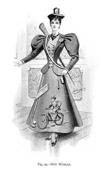 New Edwardian Woman Vintage engraving of a young woman in an Edwardian 'New Woman' Costume suffragist stock illustrations
