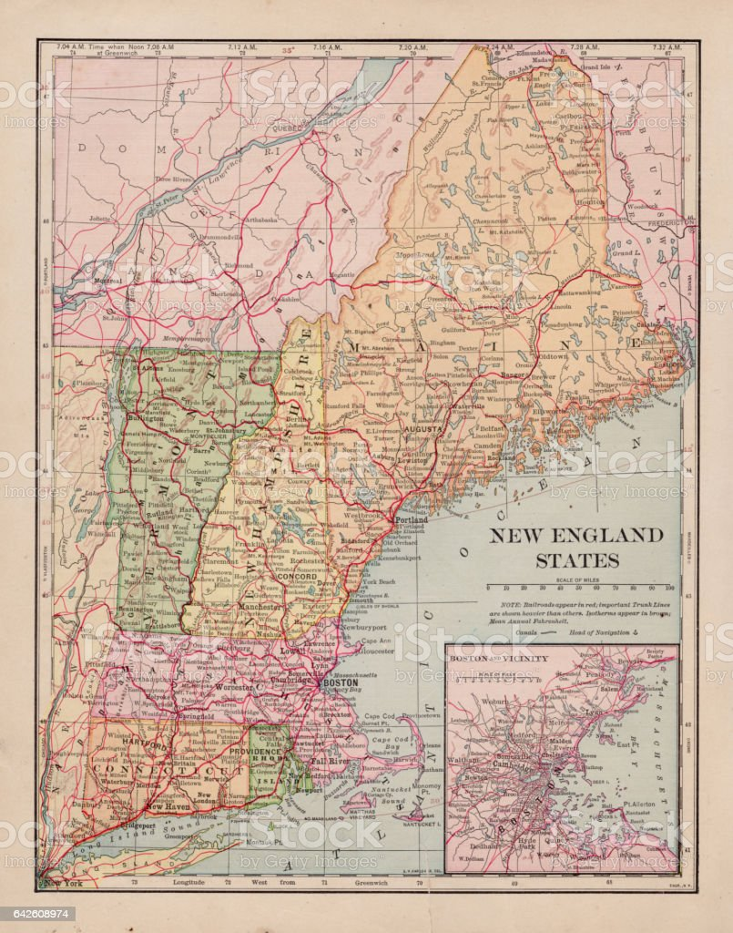 New England States Map 1898 Stock Vector Art More Images Of