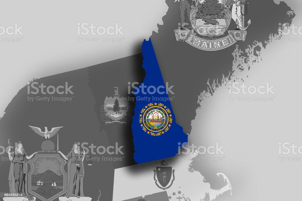 New Hampshire map and flag royalty-free new hampshire map and flag stock vector art & more images of cartography
