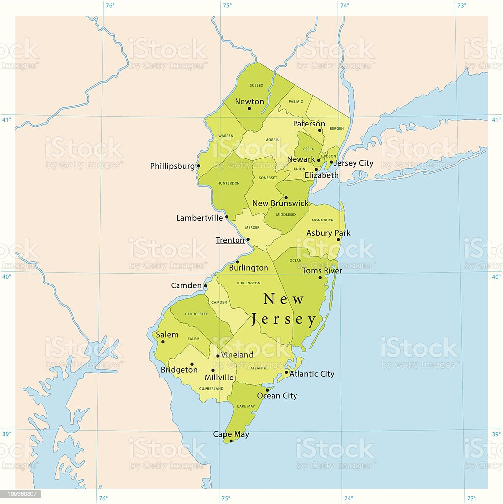 New Jersey Vector Map vector art illustration