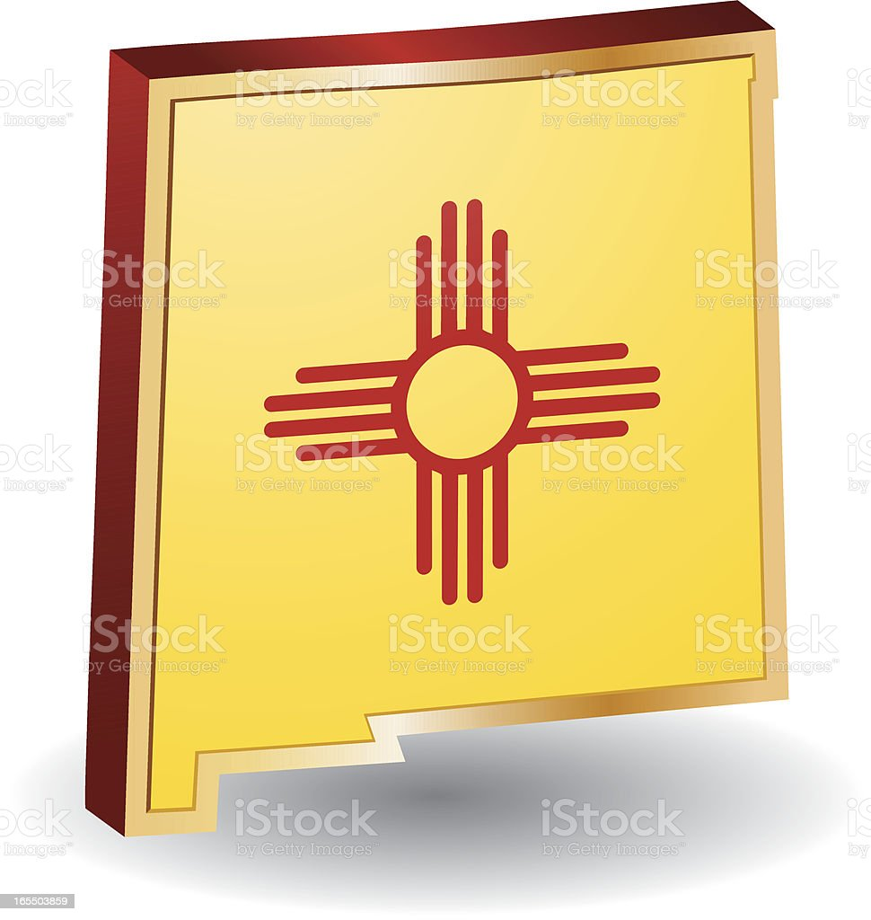 New Mexico Flag 3D royalty-free new mexico flag 3d stock vector art & more images of flag
