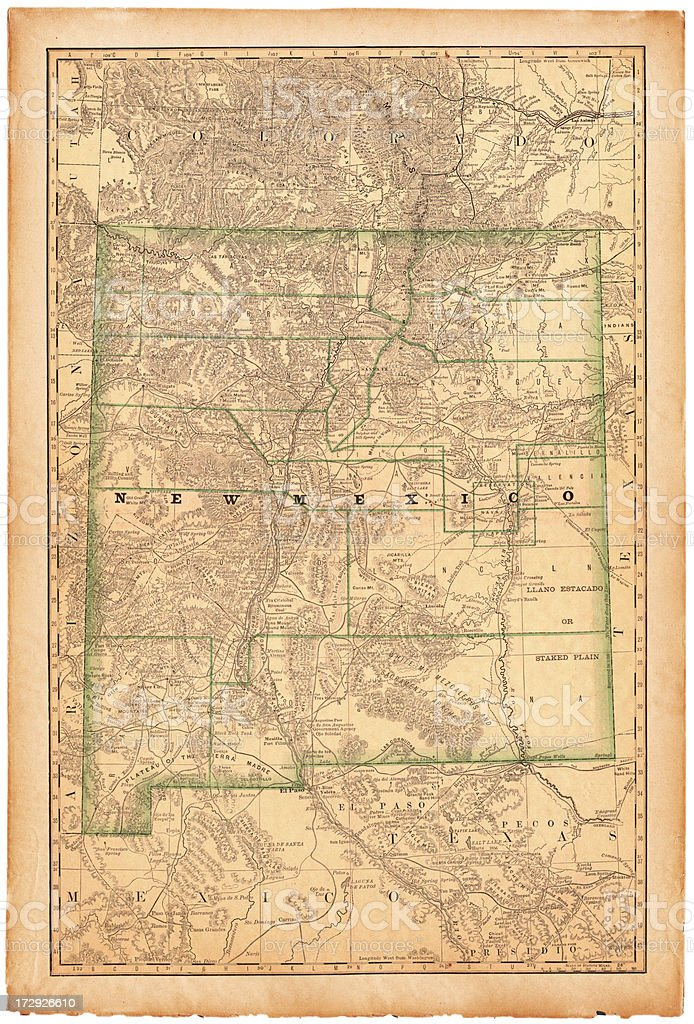 New Mexico Old Map vector art illustration