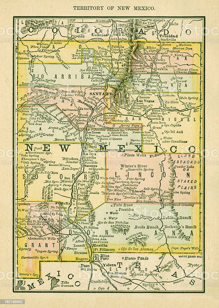 New Mexico Usa Antique Maps High Resolution stock vector art