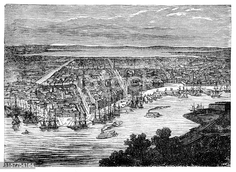 Steel engraving New Orleans along the Mississippi River Graveur : J. Pegard Original edition from my own archives Source :