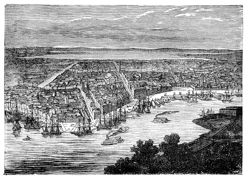 New Orleans along the Mississippi River illustration 1887