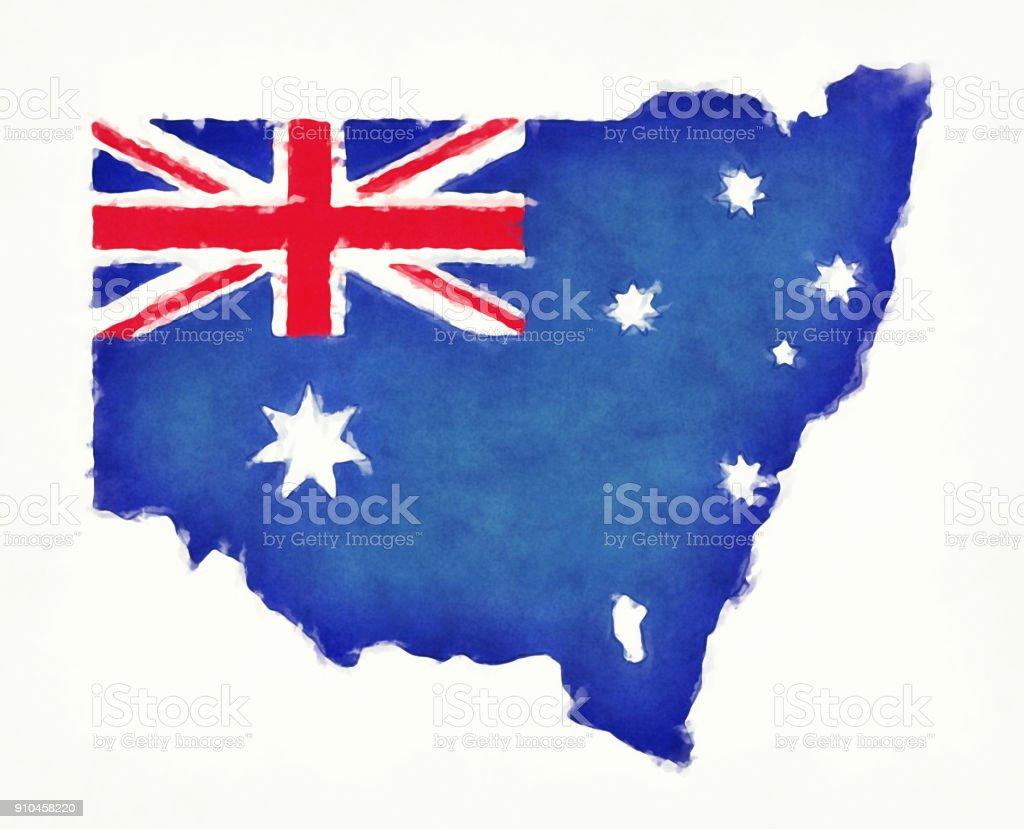 Beyaz Bir Arka Plan önünde Avustralya Ulusal Bayrak Ile Yeni Güney