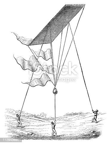 A new type of kite being flown in South Africa from Magasin Pittoresque. Vintage etching circa mid 19th century.