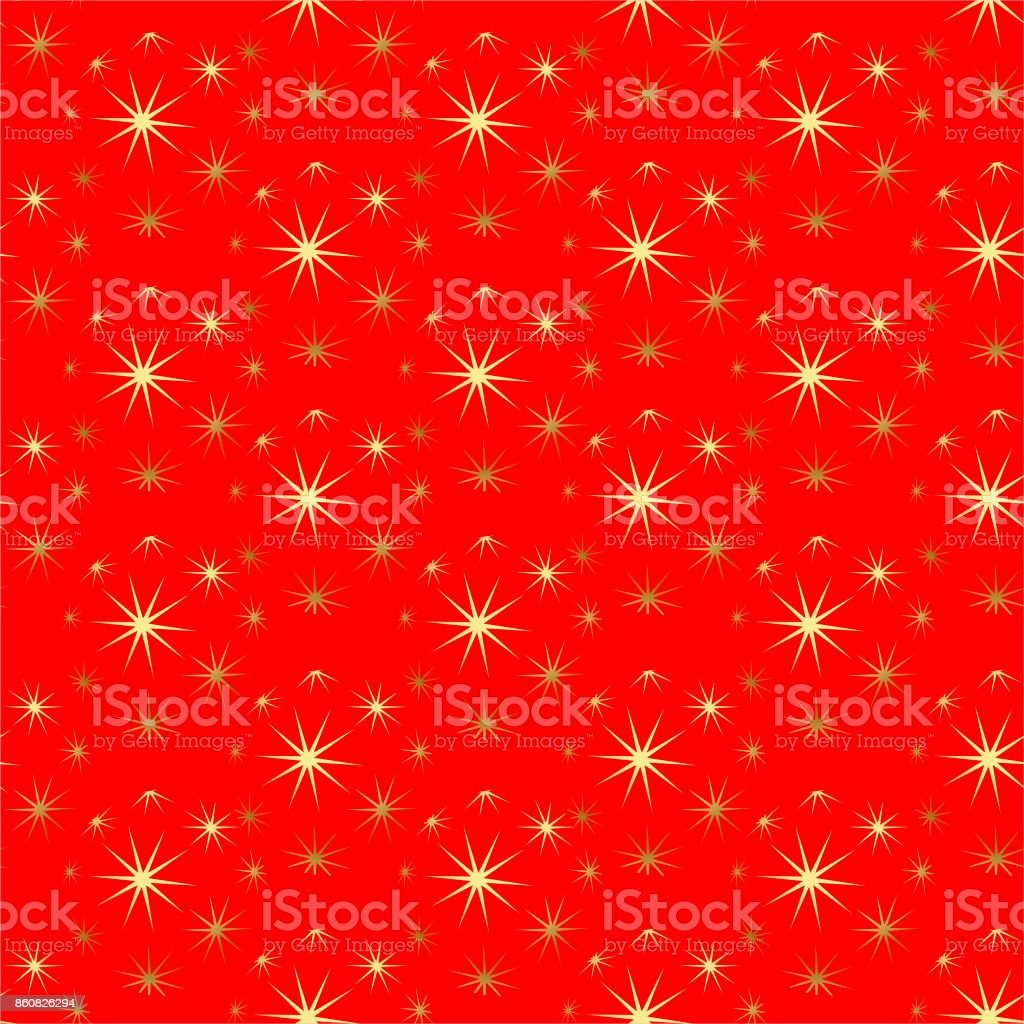 New Year and Christmas pattern with golden stars and balls. vector art illustration