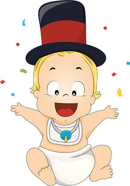 new year baby vector art illustration