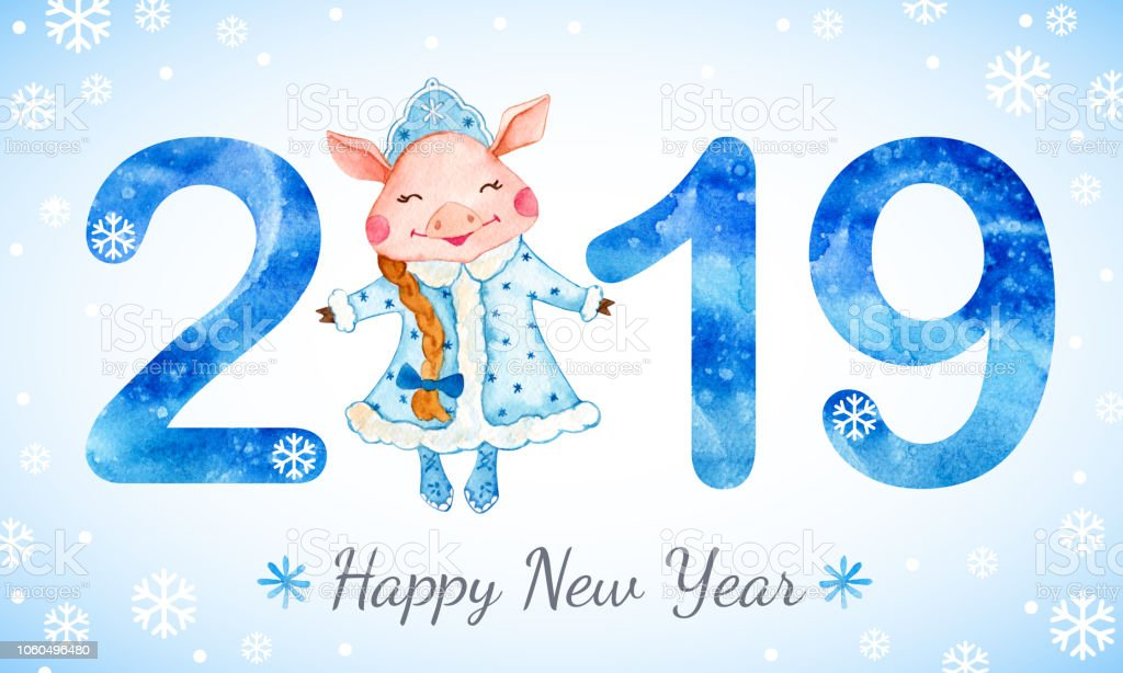 new year banner with cute pig in snow maiden costume royalty free new year