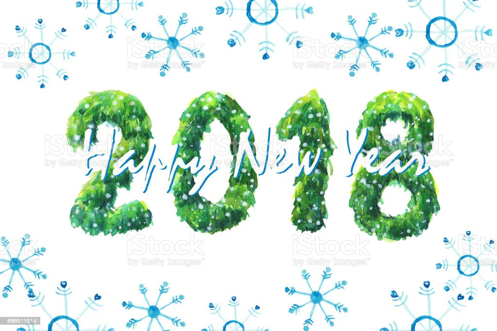 new year card watercolor clip art with pine tree and snow the image is