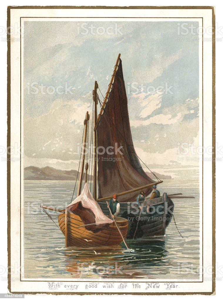 New Year card with fishermen and sailing boats, 1882 royalty-free stock vector art