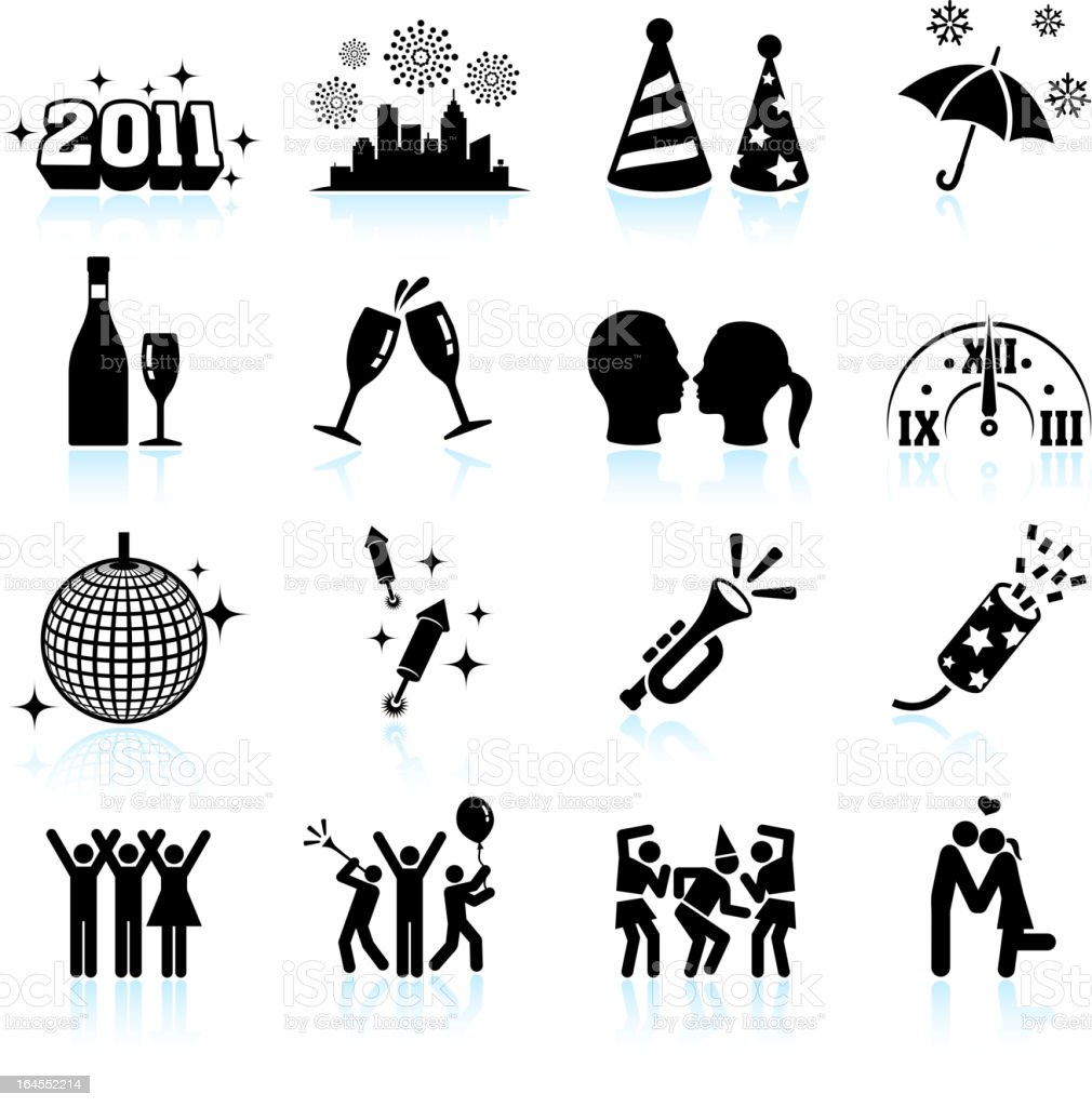 new year celebration black white vector icon set royalty free new year celebration black