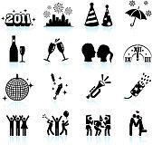 New Year celebration black & white icon set