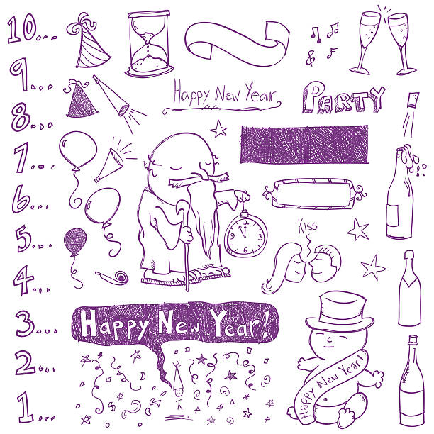 new year doodles - old man kissing stock illustrations, clip art, cartoons, & icons