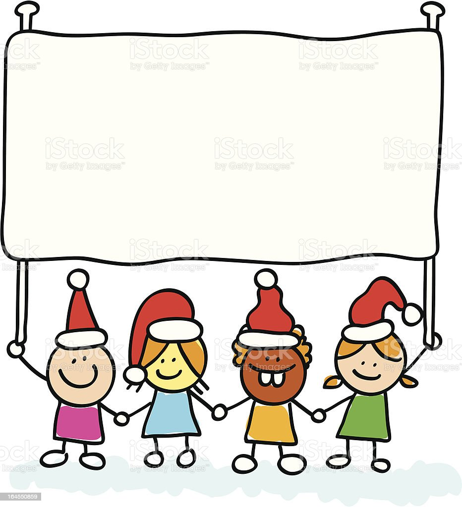 new year kids with banner cartoon illustration royalty free new year kids with banner cartoon