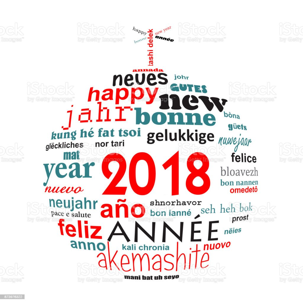 2018 New Year Multilingual Text Word Cloud Greeting Card In The
