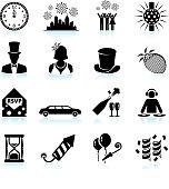 New Year party celebration black & white icon set