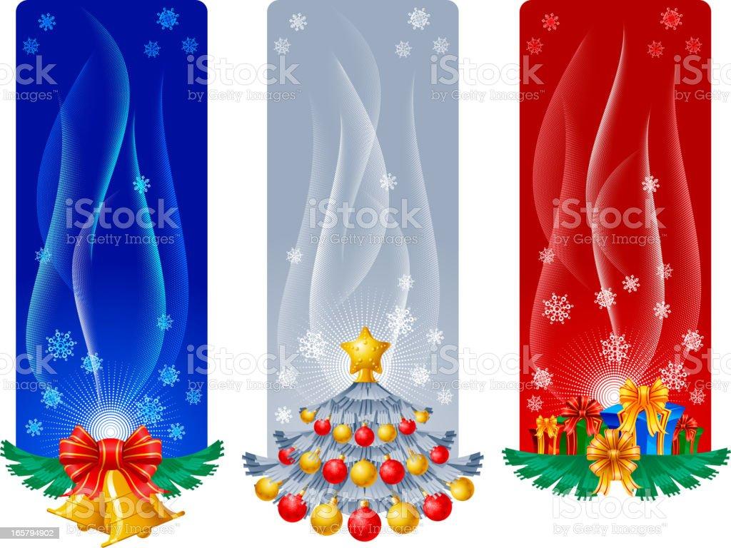 New Year present and fir vector art illustration